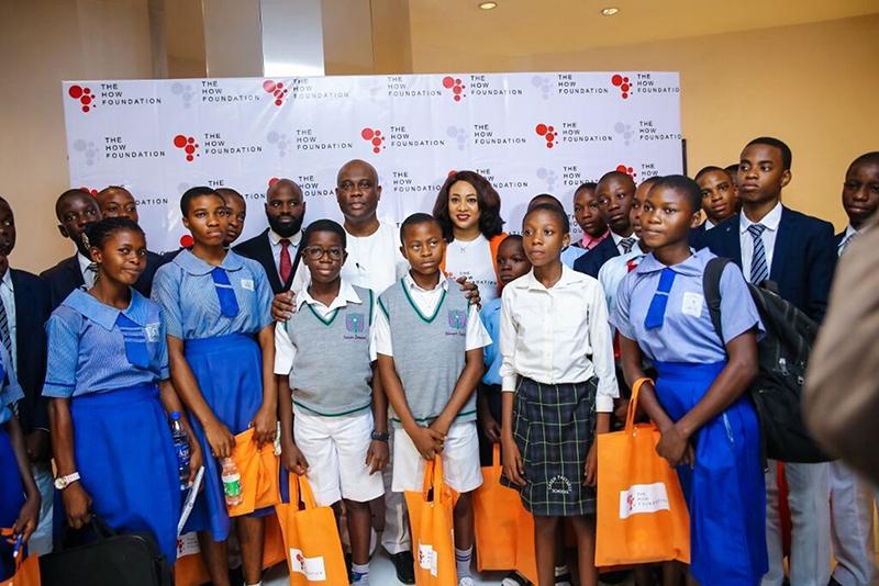 Herbert Onyewumbu Wigwe-Antonia Ally and Joshua Ajitena with Queens College Students