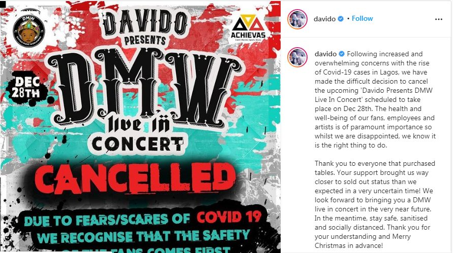 Singer Davido Cancels First-ever DMW Live In Concert, Gives Reason –  GLAMSQUAD MAGAZINE